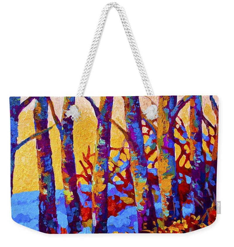 Trees Weekender Tote Bag featuring the painting Winter's Promise by Marion Rose