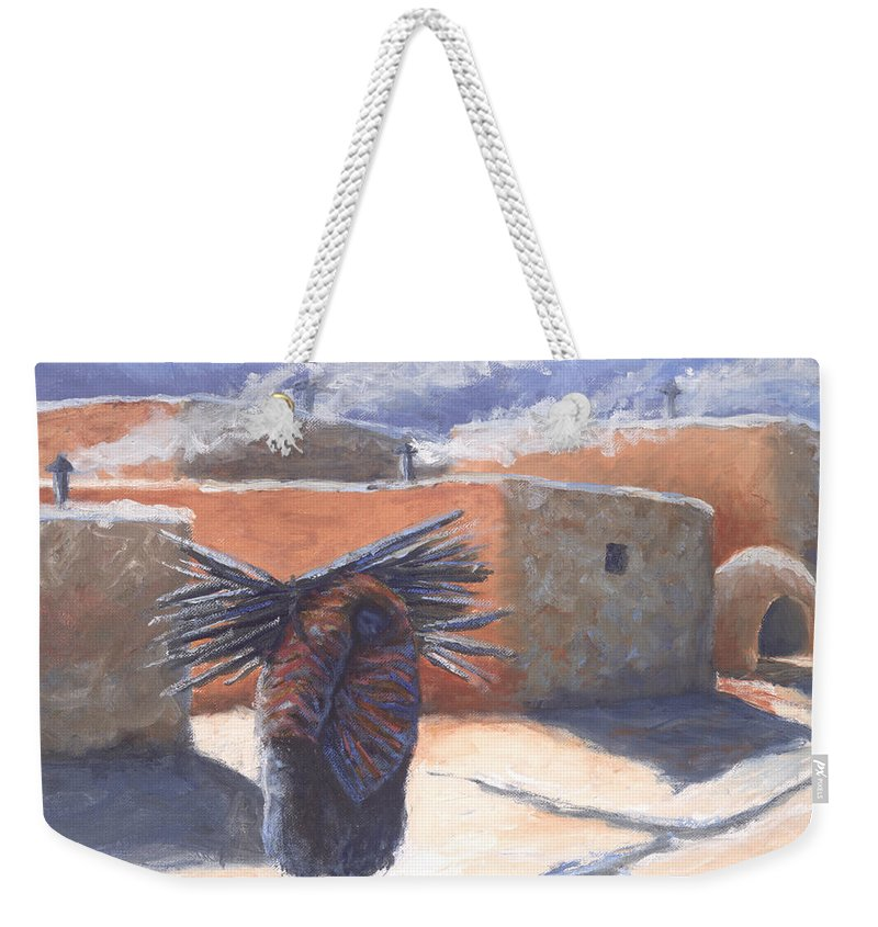 Adobe Weekender Tote Bag featuring the painting Winter's Work by Jerry McElroy