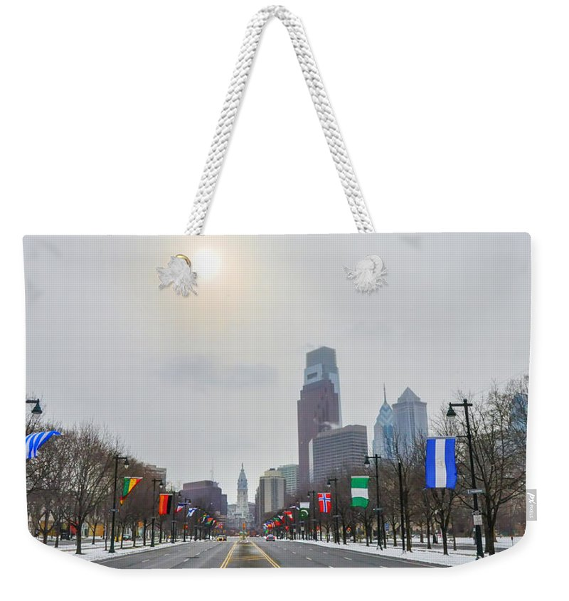 Wintertime Weekender Tote Bag featuring the photograph Wintertime - Benjamin Franklin Parkway by Bill Cannon