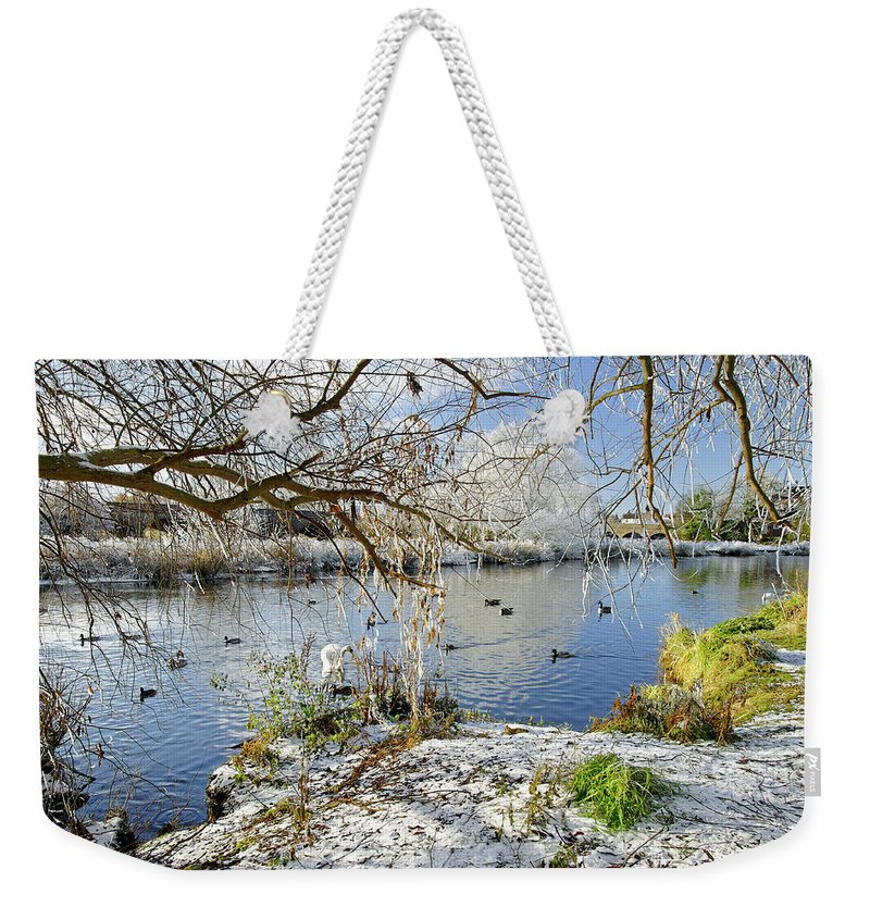 Europe Weekender Tote Bag featuring the photograph Wintry River At Newton Road Park by Rod Johnson