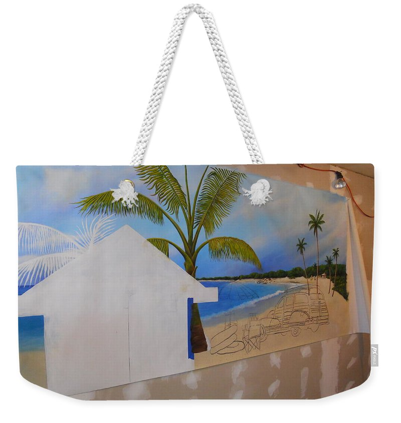 Weekender Tote Bag featuring the painting Wip 02- Tyler's Room by Cindy D Chinn