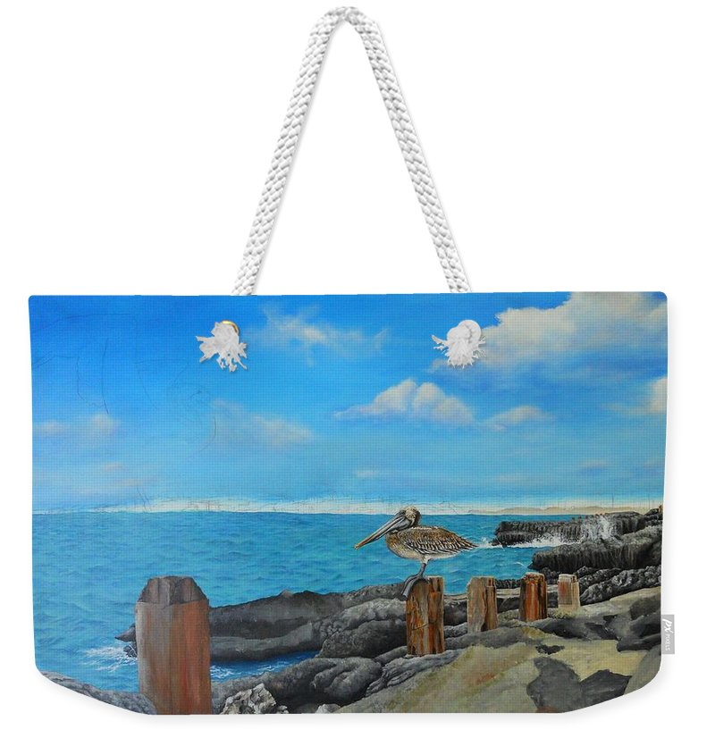 Weekender Tote Bag featuring the painting Wip- Pelican 02 by Cindy D Chinn