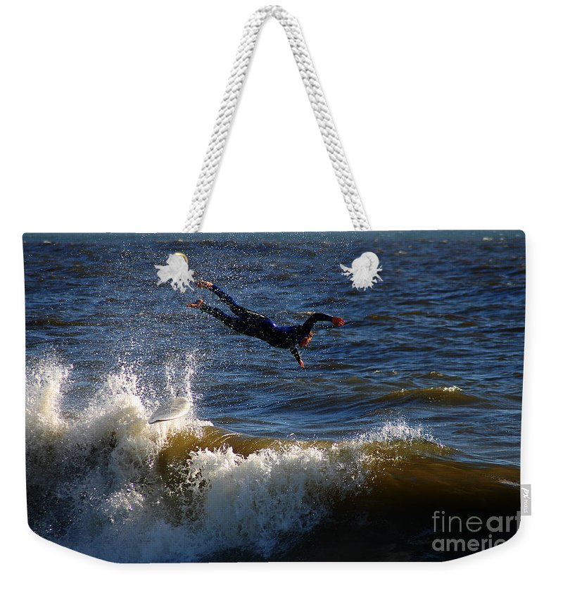 Clay Weekender Tote Bag featuring the photograph Wipe Out by Clayton Bruster