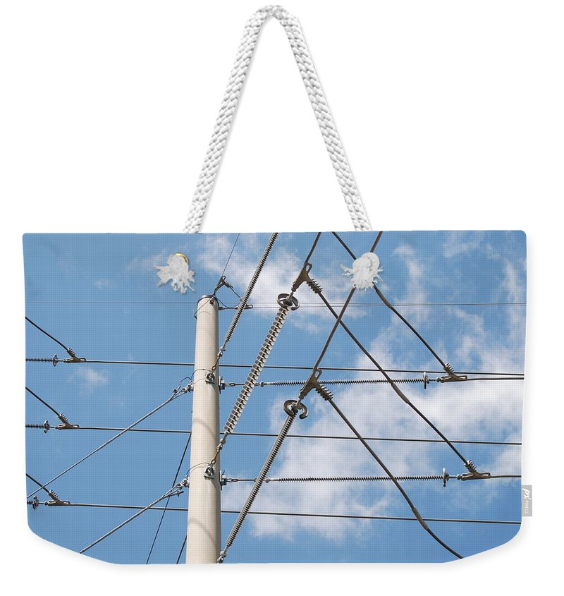 Sky Weekender Tote Bag featuring the photograph Wired Sky by Rob Hans