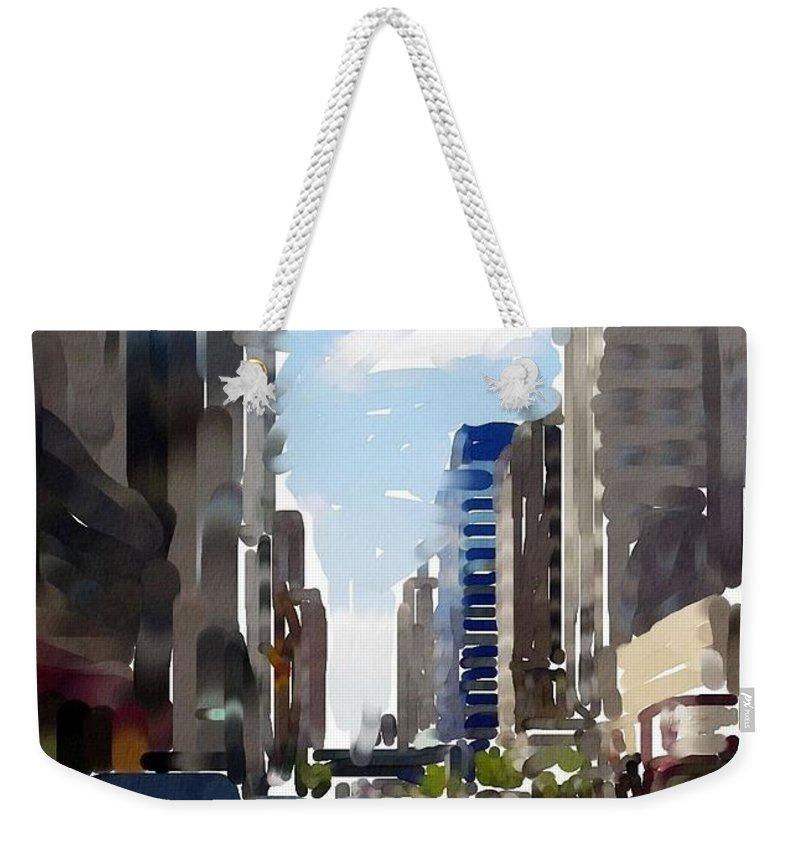Milwaukee Weekender Tote Bag featuring the digital art Wisconsin Ave 2 by Anita Burgermeister