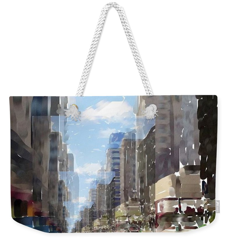 Milwaukee Weekender Tote Bag featuring the digital art Wisconsin Ave Cubist by Anita Burgermeister