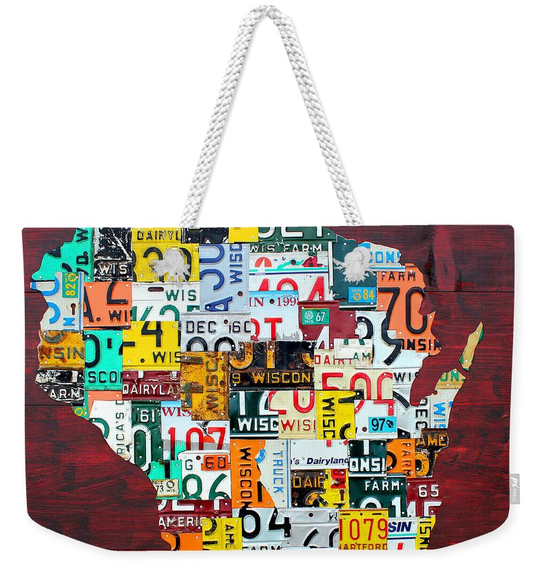 Wisconsin Counties Vintage Recycled License Plate Map Art On Red Barn Wood Weekender Tote Bag featuring the mixed media Wisconsin Counties Vintage Recycled License Plate Map Art On Red Barn Wood by Design Turnpike