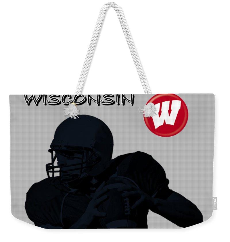 Football Weekender Tote Bag featuring the digital art Wisconsin Football by David Dehner