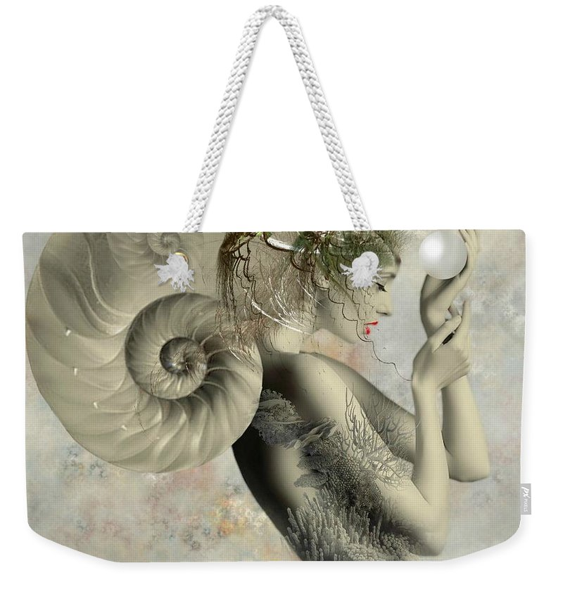 Nautilus Sea Shell Weekender Tote Bag featuring the digital art Wish On A Pearl by Ali Oppy