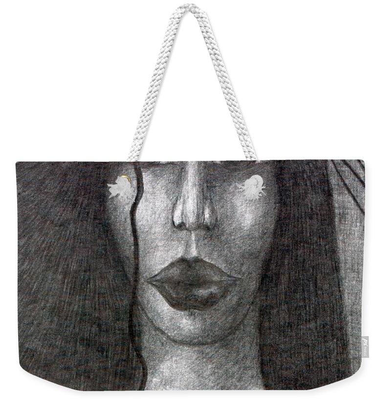 Psychedelic Weekender Tote Bag featuring the drawing Wisp by Wojtek Kowalski