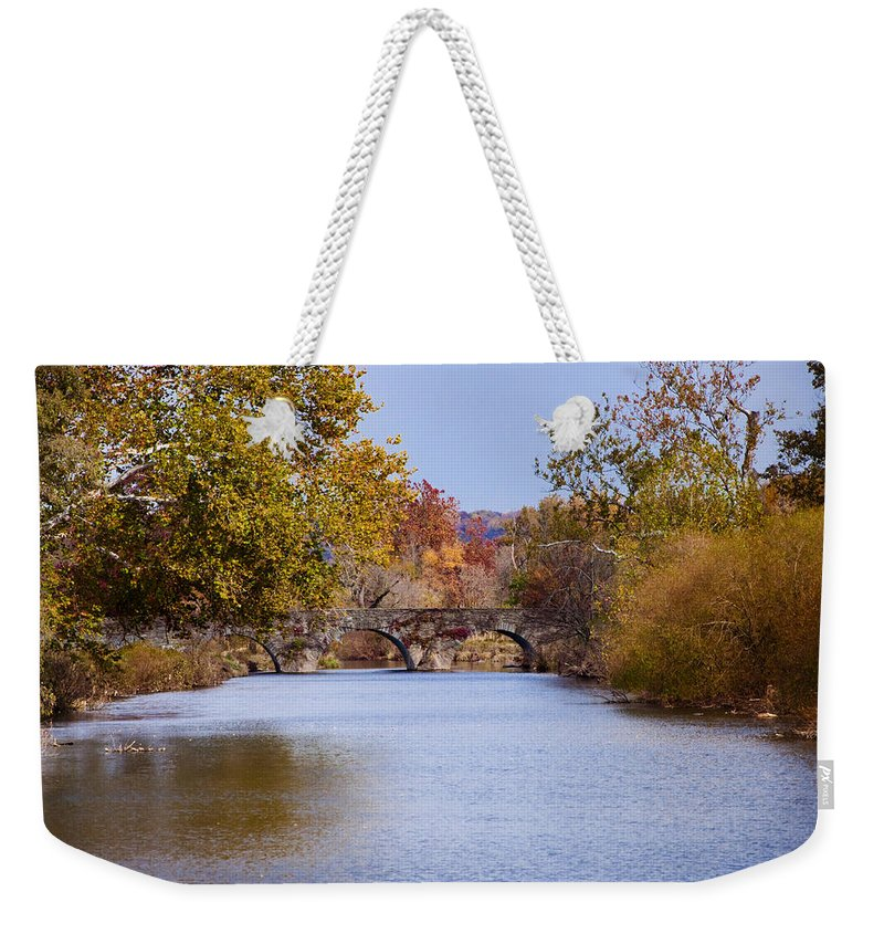 Wissahickon Weekender Tote Bag featuring the photograph Wissahickon Autumn by Bill Cannon
