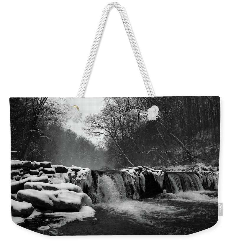 Snowy Weekender Tote Bag featuring the photograph Wissahickon Snow by Kristen Pearce