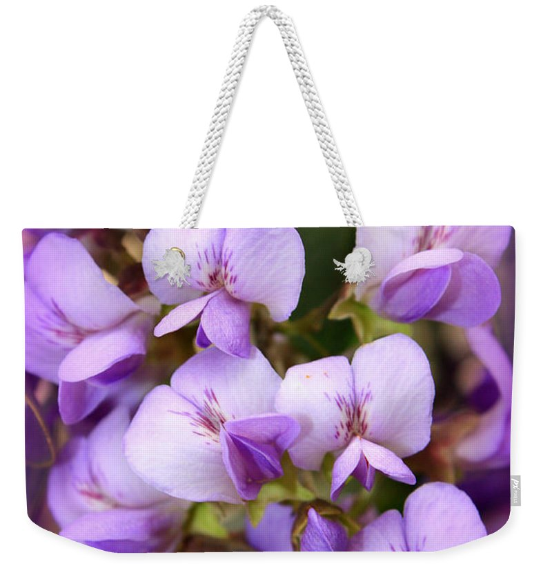 Purple Weekender Tote Bag featuring the photograph Wisteria Blossoms by Carol Groenen