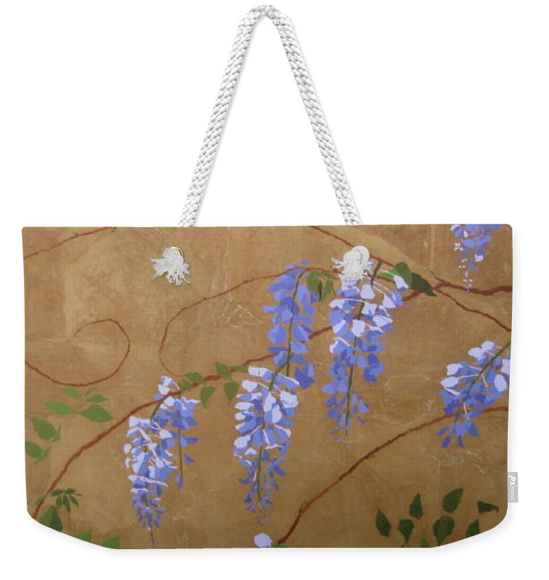 Periwinkle Wisteria Flowers Weekender Tote Bag featuring the painting Wisteria by Leah Tomaino
