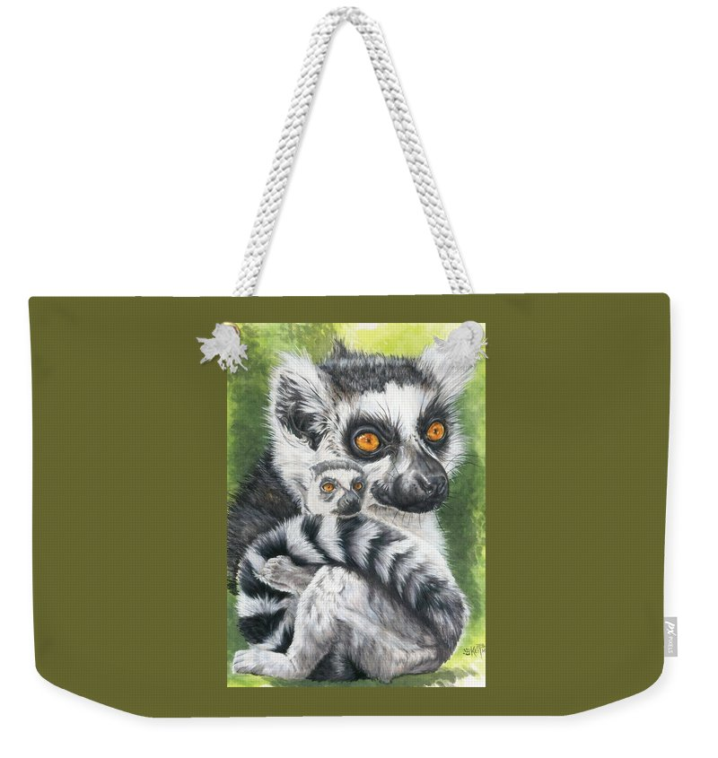 Lemur Weekender Tote Bag featuring the mixed media Wistful by Barbara Keith