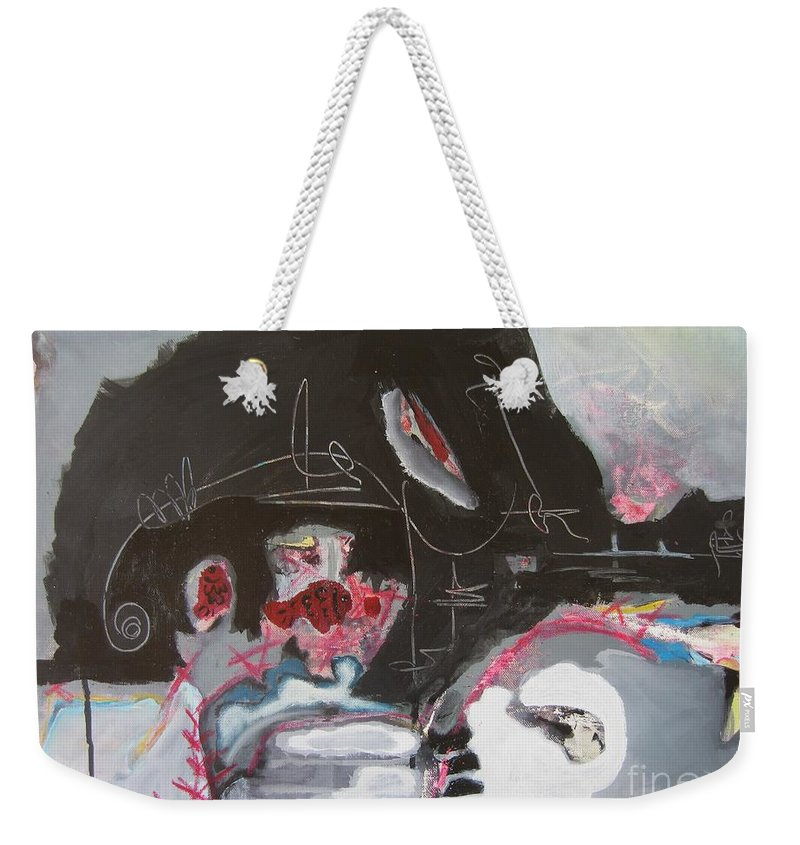 Abstract Paintings Weekender Tote Bag featuring the painting With Little Escape From Life by Seon-Jeong Kim