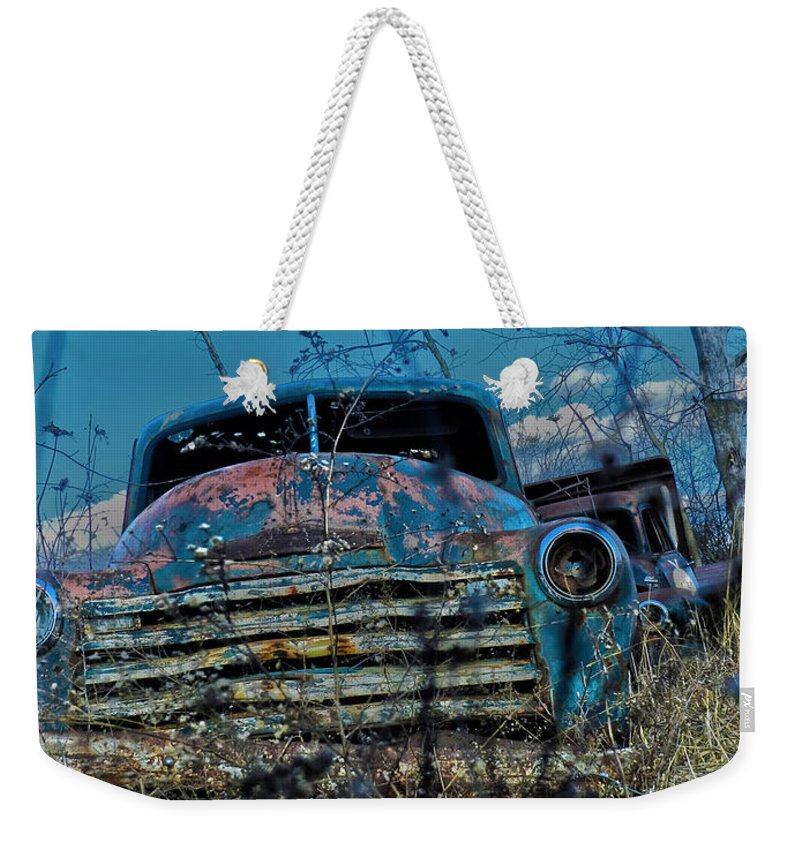 Truck Weekender Tote Bag featuring the photograph With No Headlights by Richard Greiner