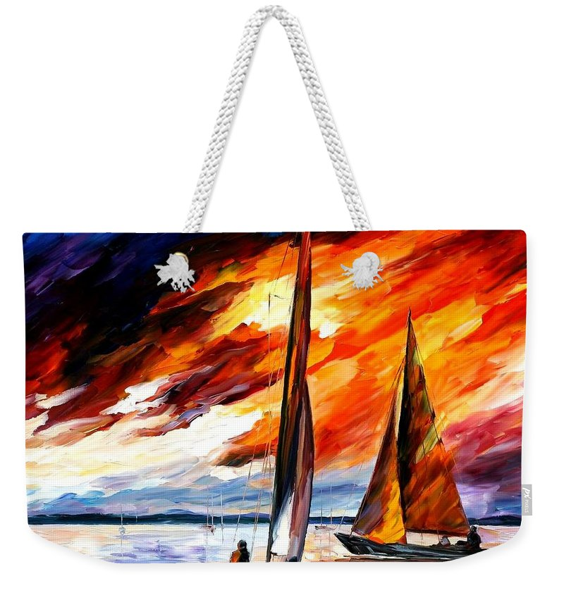 Afremov Weekender Tote Bag featuring the painting With The Wind by Leonid Afremov