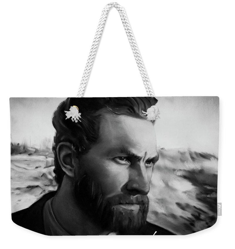 Weekender Tote Bag featuring the painting With Theo support - there is no stopping him by Agata Smolska