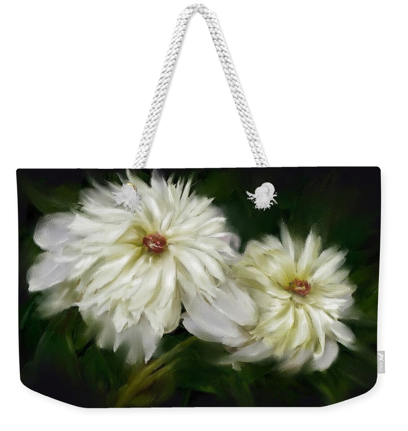 Peony Weekender Tote Bag featuring the painting Withering Peony by Bonnie Willis