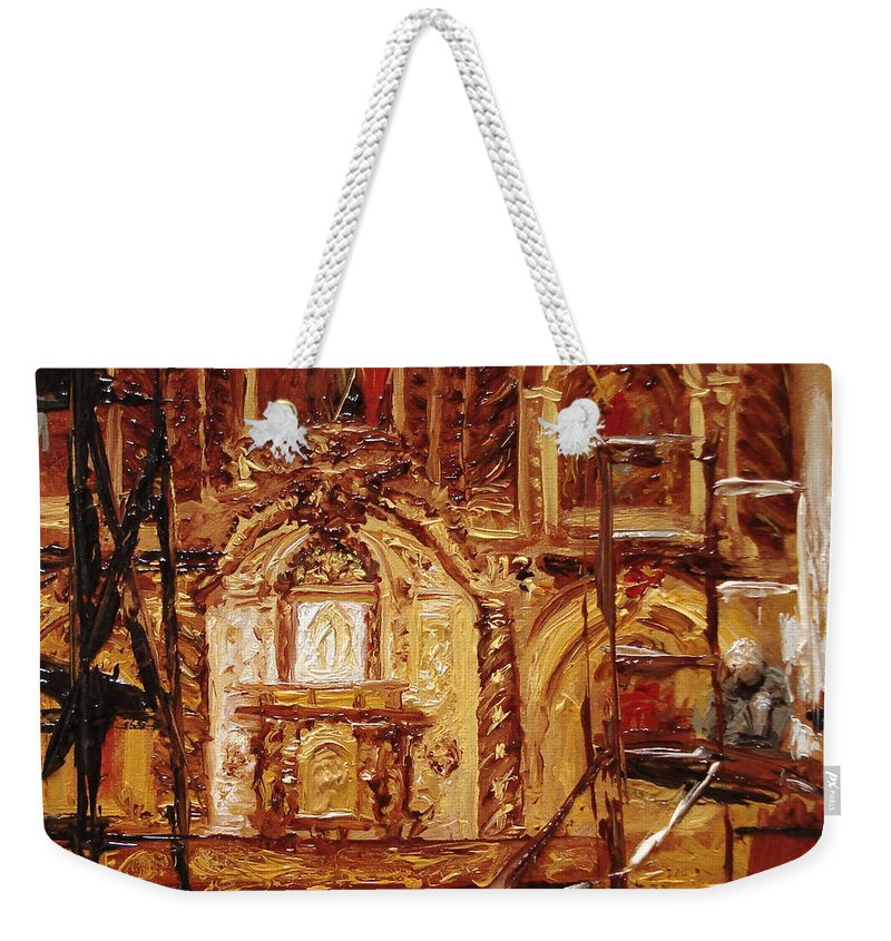 Chapel Weekender Tote Bag featuring the painting Within The Scaffold by Barbara Andolsek