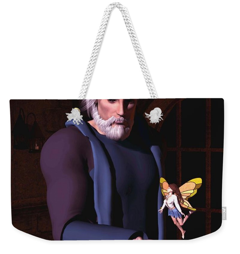 Wizard Weekender Tote Bag featuring the digital art Wizard And Fairy by John Junek