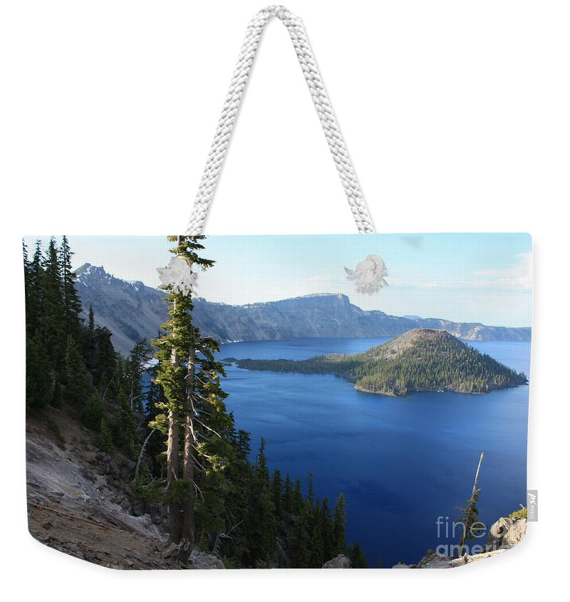 Crater Lake Weekender Tote Bag featuring the photograph Wizard Island On Crater Lake by Carol Groenen
