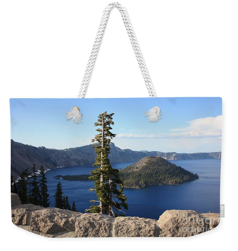 Wizard Island Weekender Tote Bag featuring the photograph Wizard Island With Rock Fence At Crater Lake by Carol Groenen