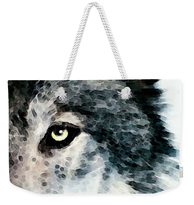 Wolf Weekender Tote Bag featuring the painting Wolf Art - Timber by Sharon Cummings