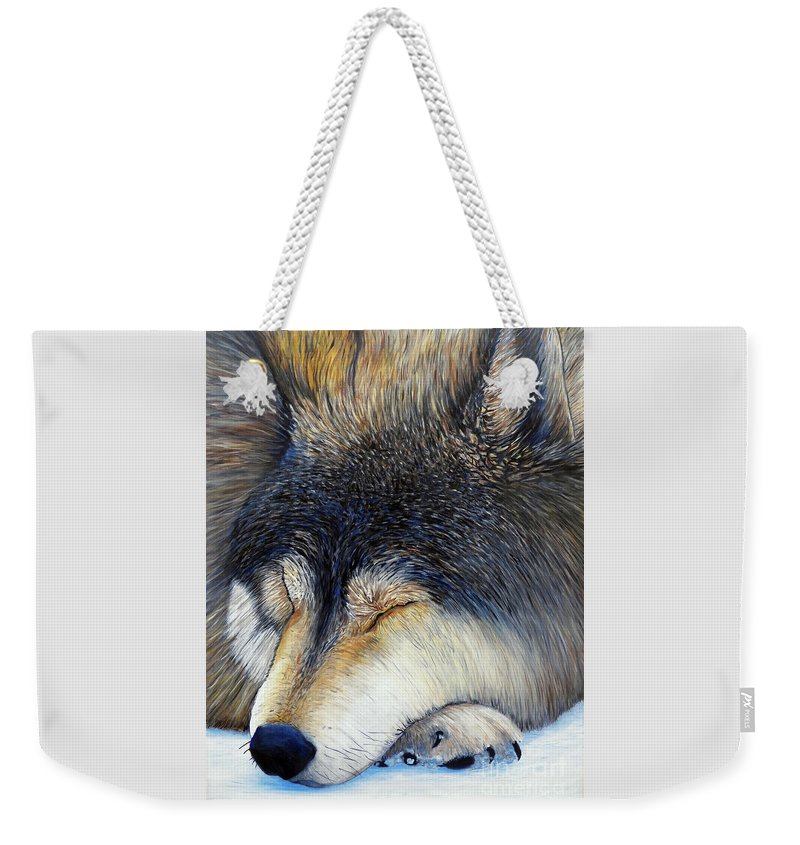 Wolf Weekender Tote Bag featuring the painting Wolf Dreams by Brian Commerford