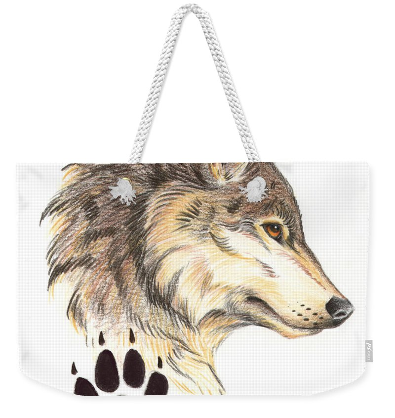 Wolf Weekender Tote Bag featuring the painting Wolf Head Profile by Melissa A Benson