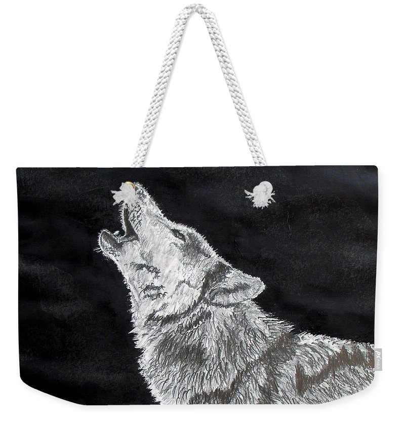 Pencil Weekender Tote Bag featuring the drawing Wolf Howl by Stan Hamilton