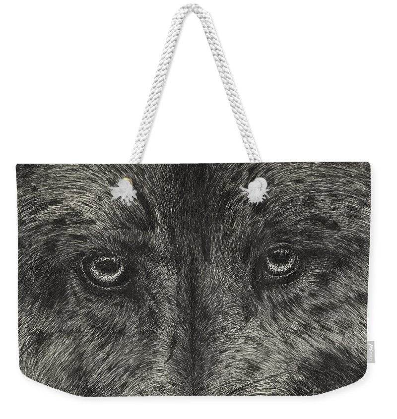 Ink Weekender Tote Bag featuring the drawing Wolf by Michael Stanford
