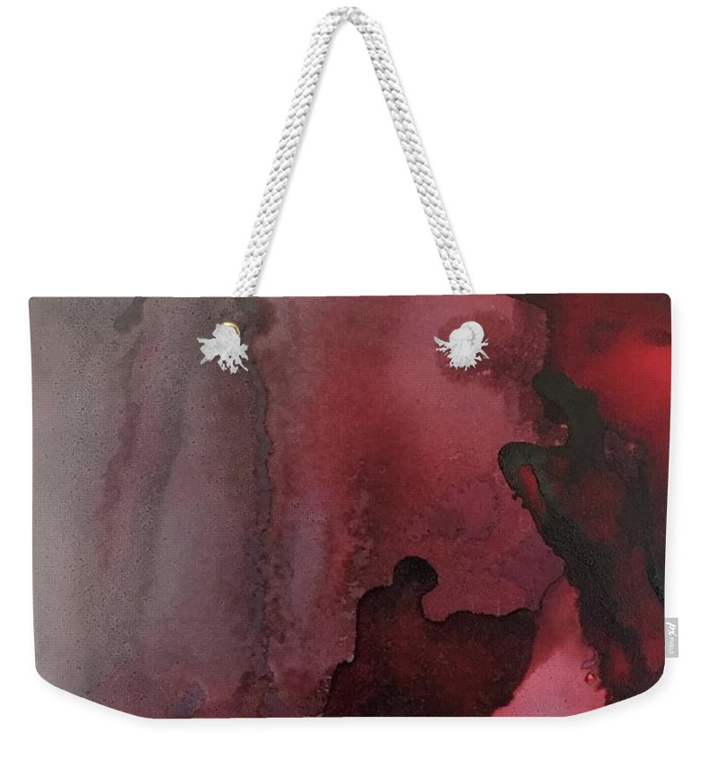 Abstract Weekender Tote Bag featuring the painting Wolf Moon by Jonny Troisi