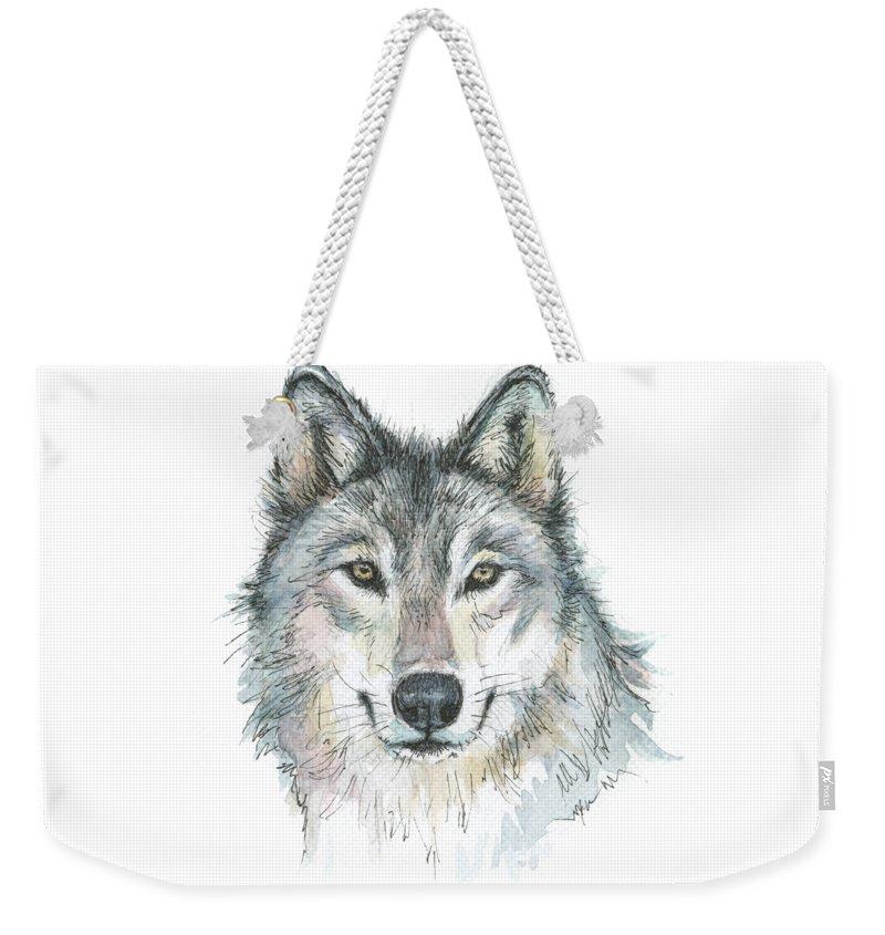 Watercolor Weekender Tote Bag featuring the painting Wolf by Olga Shvartsur