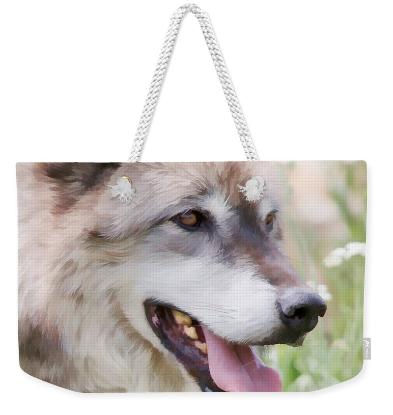 Wolves Weekender Tote Bag featuring the photograph Wolf Smile by Athena Mckinzie