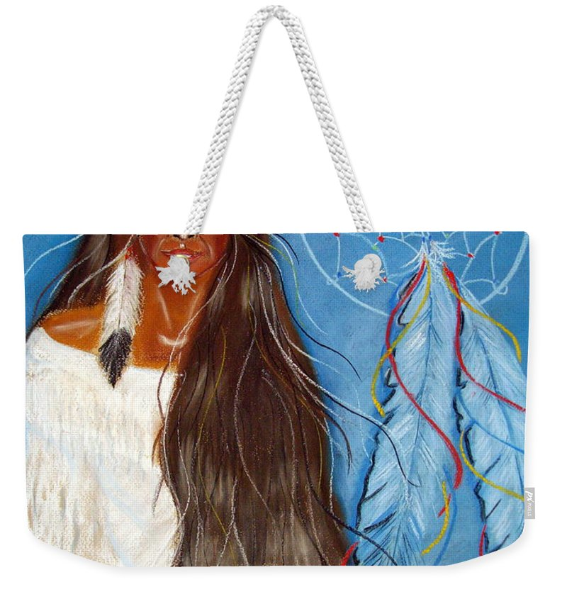 Wolf Weekender Tote Bag featuring the pastel Wolf Woman by Jo Hoden