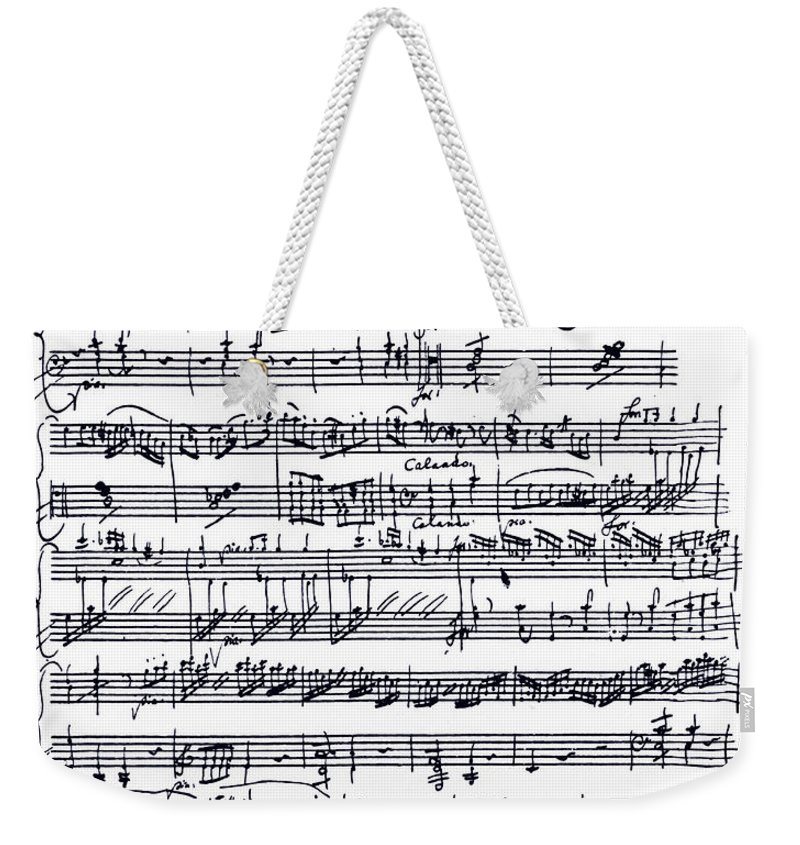 Mozart Weekender Tote Bag featuring the drawing Wolfgang Amadeus Mozart Piano Sonata In A Minor by Wolfgang Amadeus Mozart