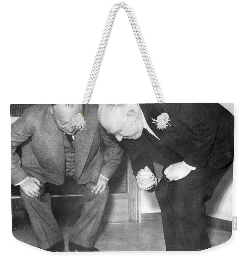 1900s Weekender Tote Bag featuring the photograph Wolfgang Pauli And Niels Bohr by Margrethe Bohr Collection and AIP and Photo Researchers