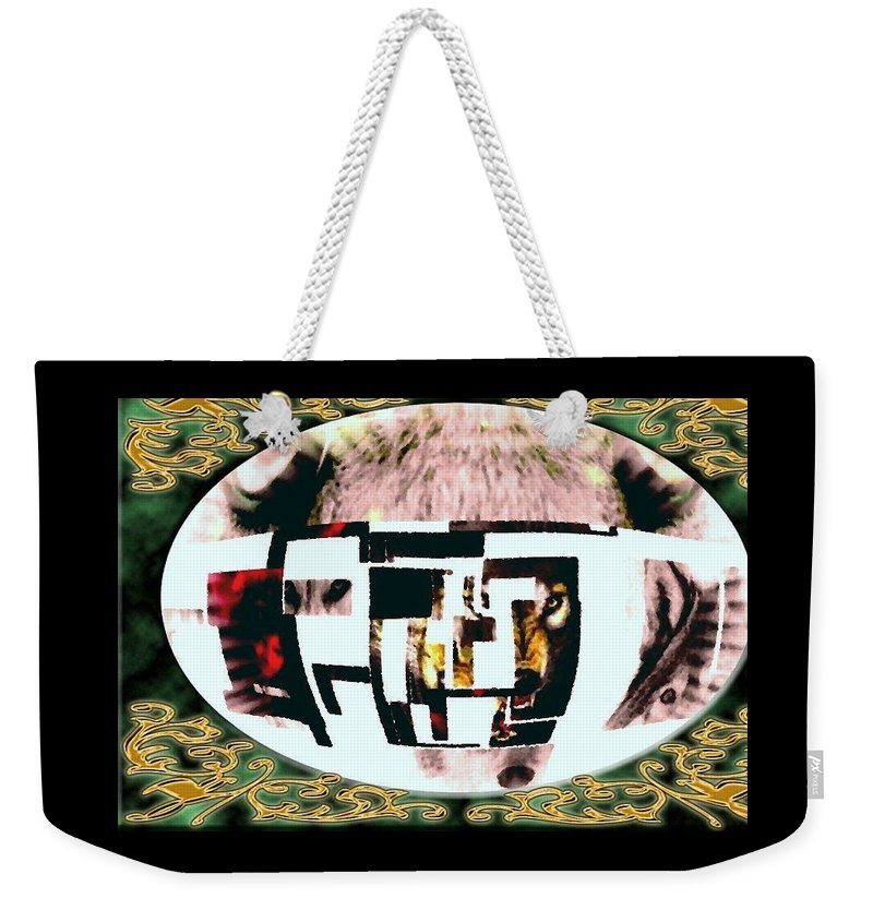 Wolf Weekender Tote Bag featuring the mixed media Wolfman by Kim Rahal