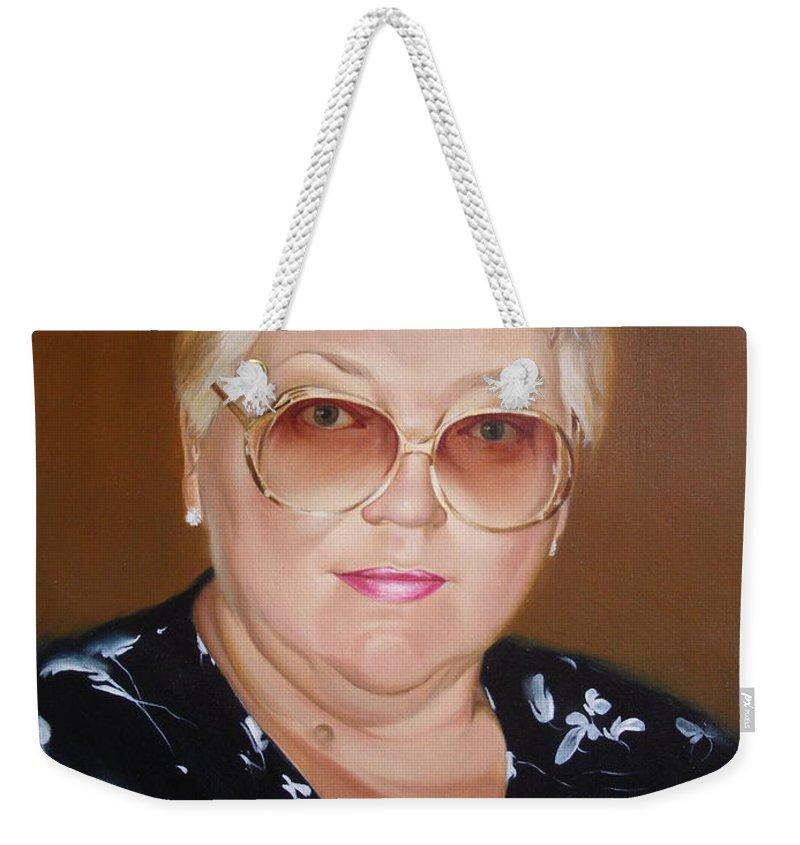 Art Weekender Tote Bag featuring the painting Woman 1 by Sergey Ignatenko