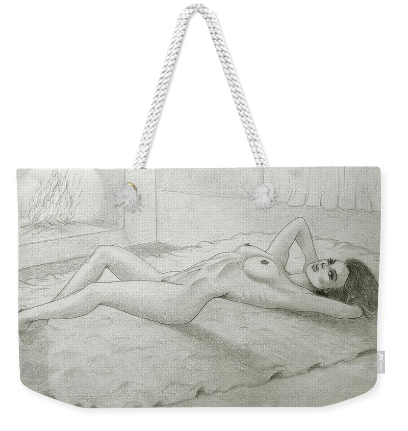 Pencil Weekender Tote Bag featuring the drawing Woman And Fireplace by Nicola Fusco