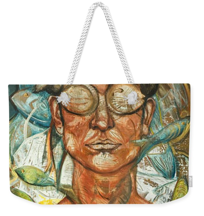 Pisces Weekender Tote Bag featuring the painting Woman And Fishes by Hengameh Abedin