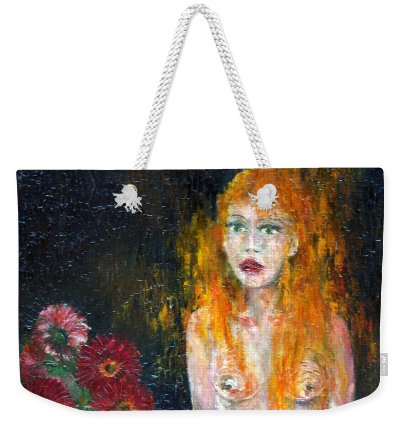 Imagination Weekender Tote Bag featuring the painting Woman And Flowers by Wojtek Kowalski