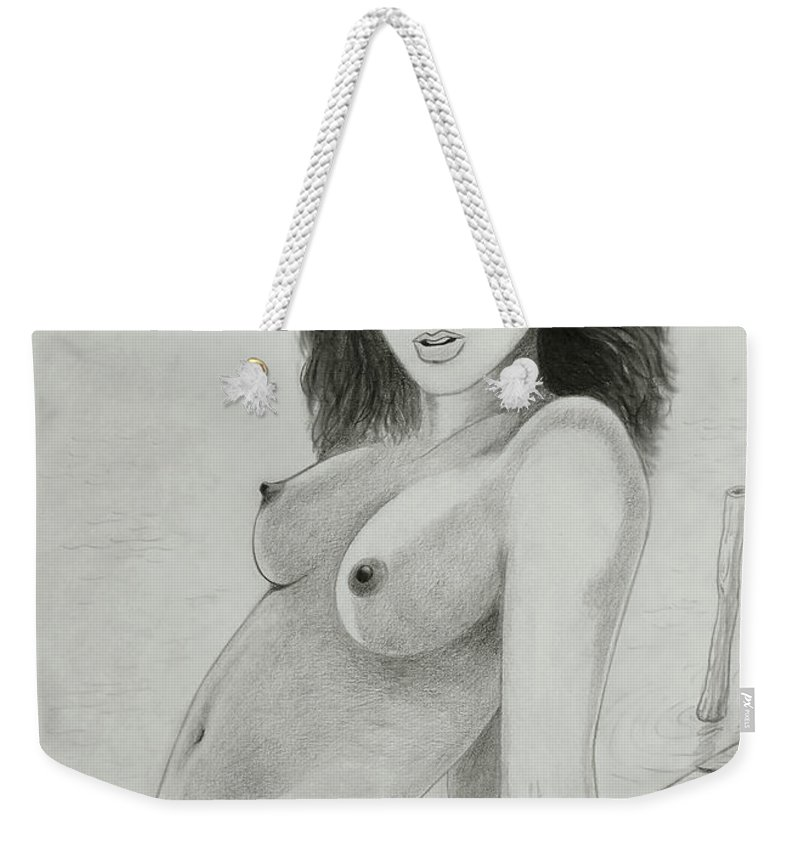 Woman Weekender Tote Bag featuring the drawing Woman And Sea by Nicola Fusco