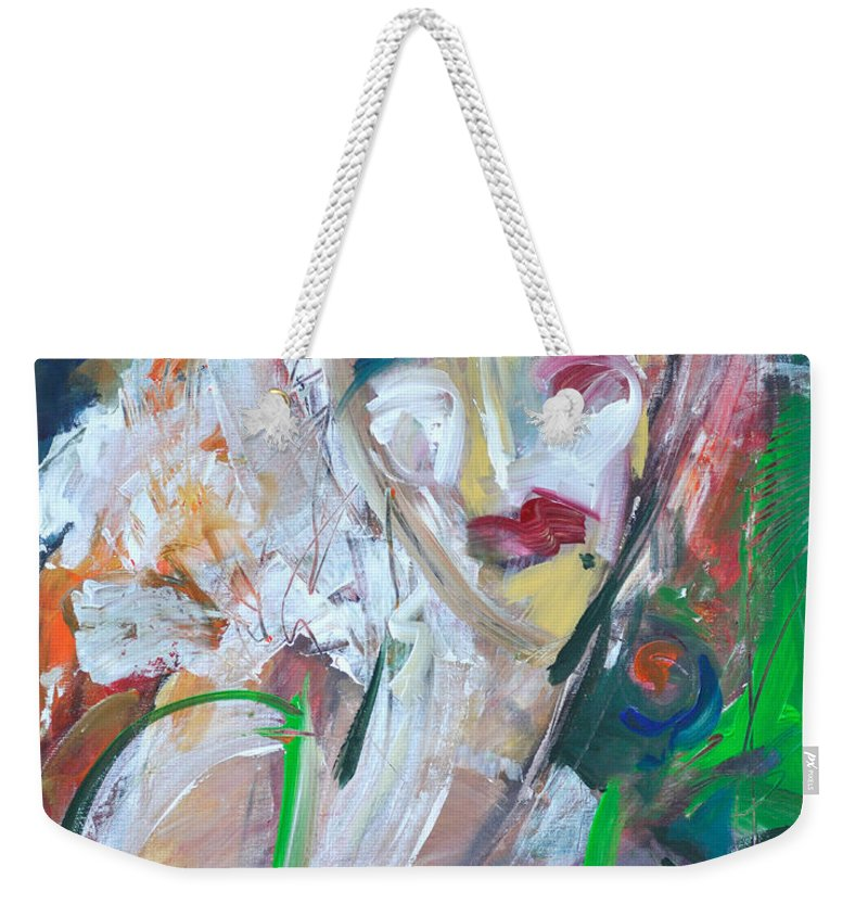 Jazz Weekender Tote Bag featuring the painting Woman At The Jazz Club by Tim Nyberg