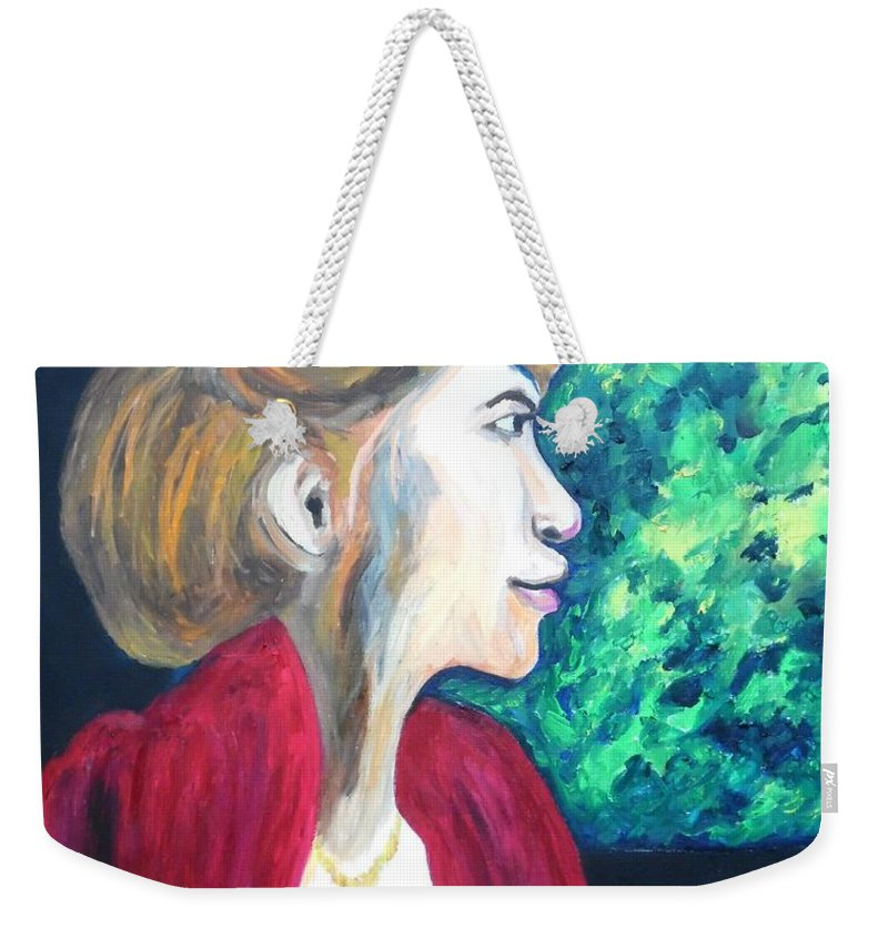 Woman At The Window Weekender Tote Bag featuring the painting Woman At The Window by Esther Newman-Cohen