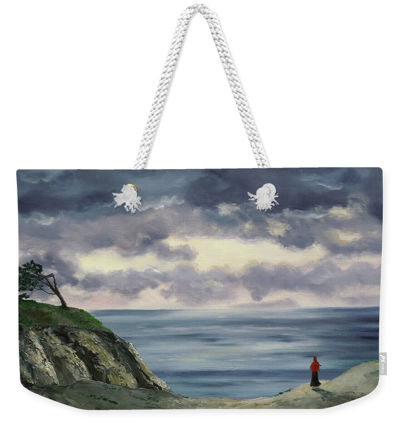 California Weekender Tote Bag featuring the painting Woman In A Red Shawl by Laura Iverson
