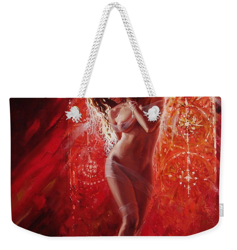 Ignatenko Weekender Tote Bag featuring the painting Woman In Church by Sergey Ignatenko