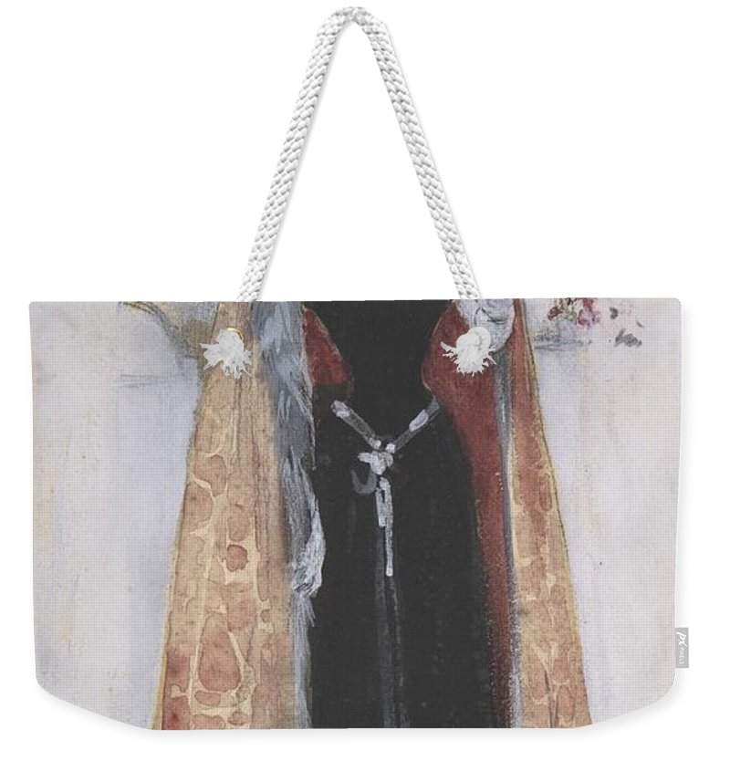 Woman In Evening Clothes And Cape Standing In Front Of Mirror Weekender Tote Bag featuring the painting Woman In Evening Clothes And Cape by Dudley Hardy